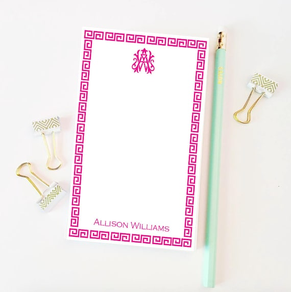 Greek key notepad, Monogrammed notepad, Vintage monogram notepad, Personalized notepad, Chinoiserie notepad, Customizable notepad