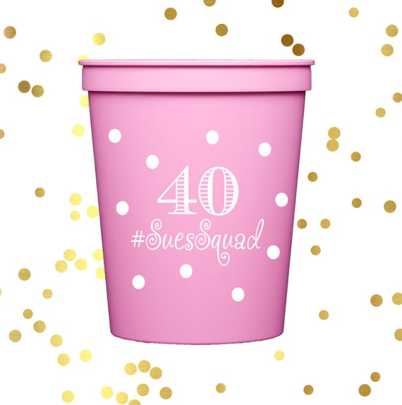 40th birthday cups, personalized cups, birthday party cups, personalized stadium cups, 40th birthday party decorations, pink party favor