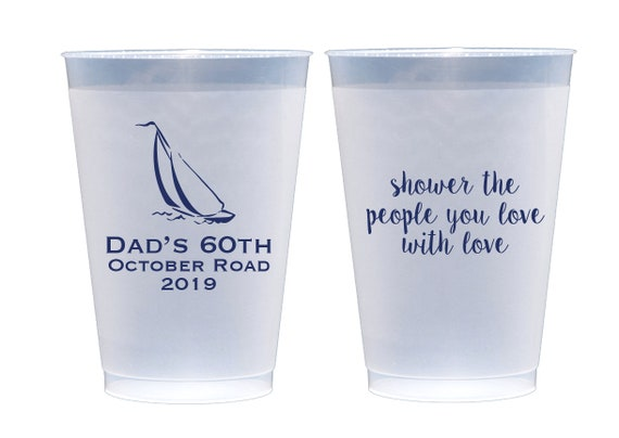 Sailboat cups, Retirement cups, Personalized frosted cups, Personalized shatterproof cups, Retirement party cups, Guy birthday party cups