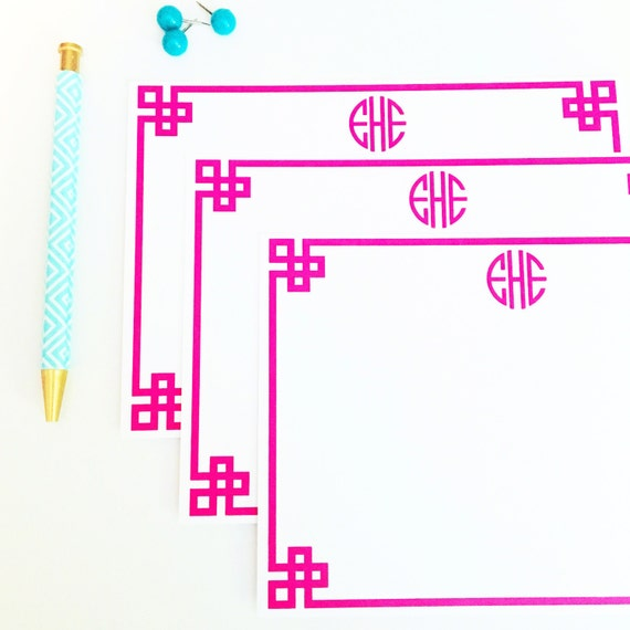 Personalized notecards, Personalized stationery set, flat notecards, greek key stationery