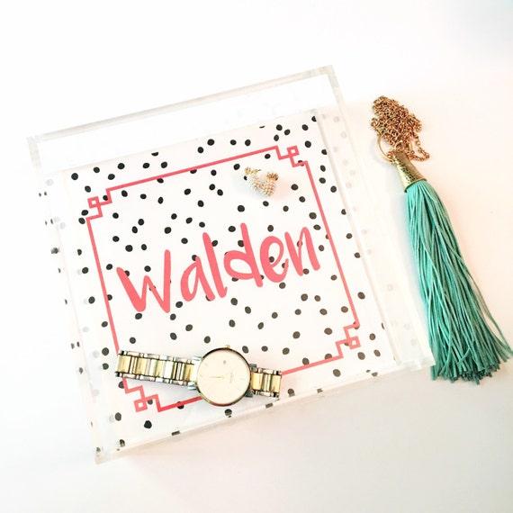 Personalized tray, polka dot tray, acrylic tray, bridesmaid gift, female gift idea, monogrammed tray, jewelry organizer, greek key tray