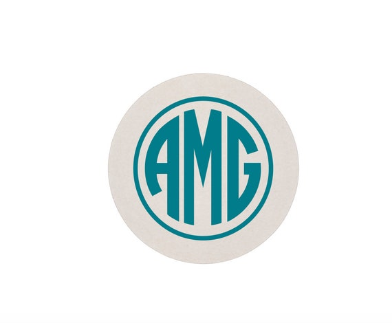 Monogrammed coasters, Circle monogram coaster, Personalized coasters, Bar cart coasters, Party coasters, Foil stamped coasters