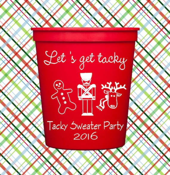 Tacky sweater party, Ugly sweater party, Christmas cups, Personalized plastic cups, Christmas party, Holiday cups, Holiday party cups