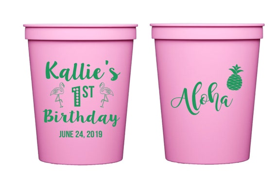 Luau birthday cups, First birthday cups, Pool party birthday party cups, Personalized plastic cups, Kids birthday cups, first birthday party
