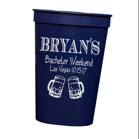 Personalized plastic cups, Bachelor party cups, Bachelor weekend cups, Guys trip party favor, custom cups, wedding party gift idea