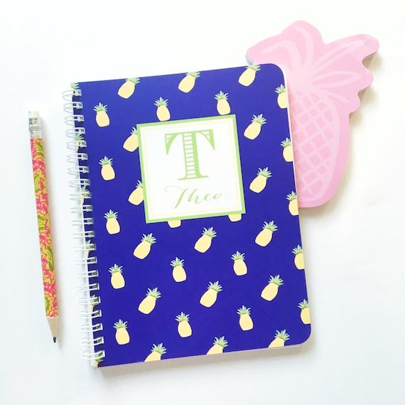 Pineapple notebook, spiral notebook, monogrammed notebook, custom notebook, personalized notebook, pineapple stationery, teacher gift idea