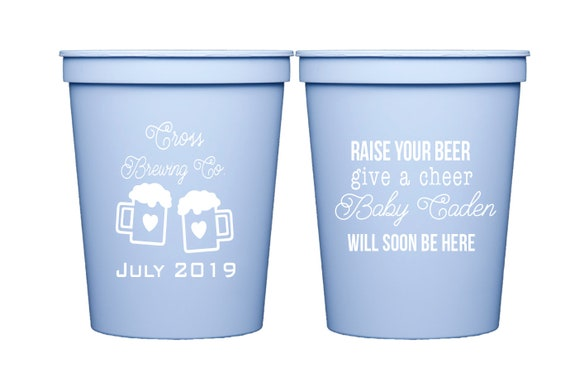 A baby is brewing, Personalized baby shower cups, Gender reveal cups, Couples baby shower cups, Personalized plastic cups