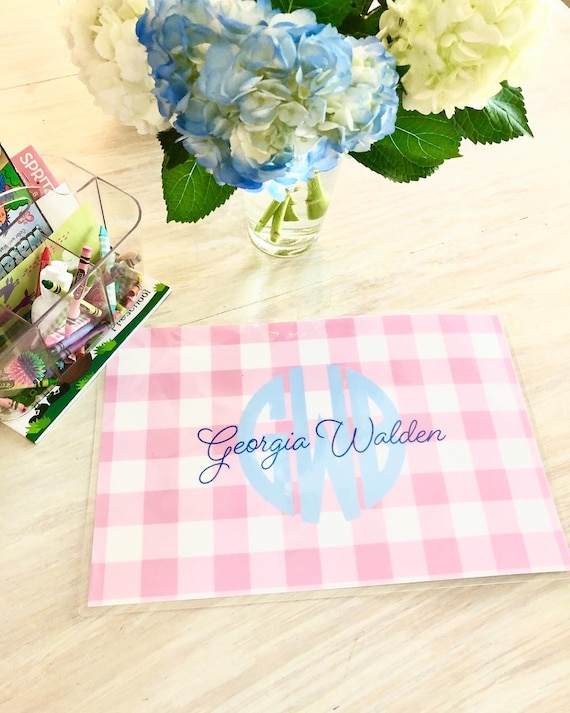 Kids Placemat, Monogrammed placemat, Gingham Placemat, Personalized Kids Gift, girls placemat, Craft mat, Painting mat, Toddler gift