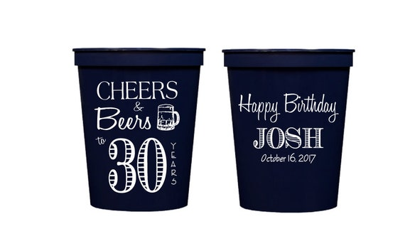 personalized 40th birthday cups, Cheers to 40 cups, birthday party cups, personalized plastic stadium cups, 40th birthday party cups