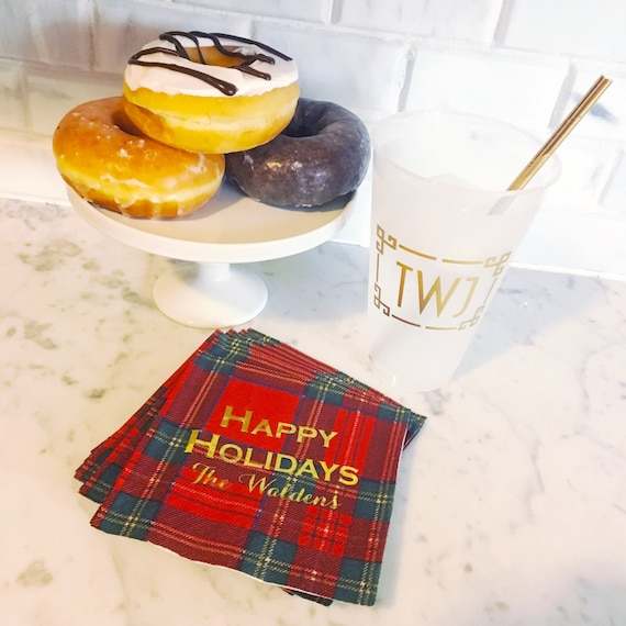 Personalized Christmas napkins, Holiday party napkins, Plaid napkins, festive napkins, holiday guest towels, Christmas decor, holiday hostes