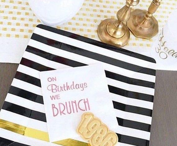 Brunch napkins, personalized cocktail napkins, birthday napkins, brunch birthday party napkins, monogrammed napkins, custom napkins