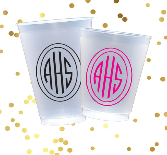 Personalized frosted cups, monogrammed shatterproof cup, monogrammed reception cups, custom plastic cup, party favor, wedding favor
