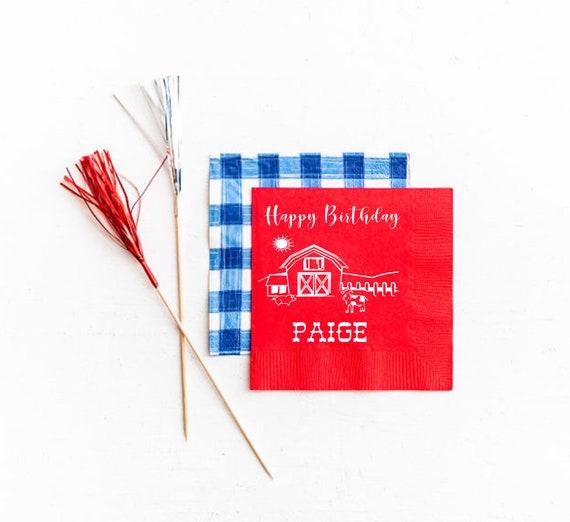 Farm birthday napkins, Farm birthday decorations, Farm birthday favor, Farm first birthday, Farm party napkins, Personalized napkins
