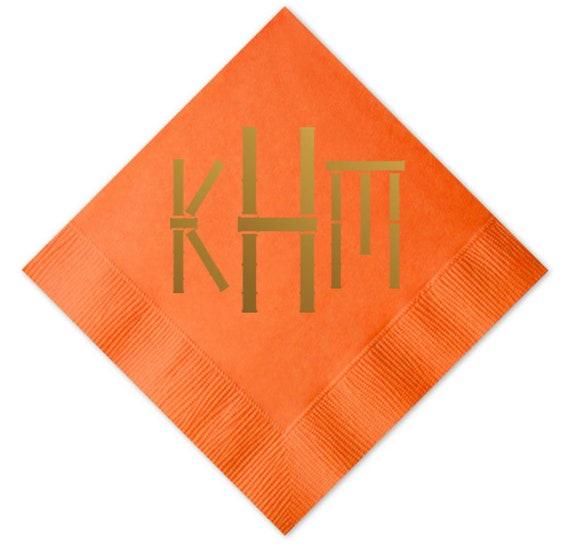 Bamboo monogram napkins, Monogrammed beverage Napkins, Bamboo font napkins, Foil stamped napkins, Gold foil napkins, Personalized napkins