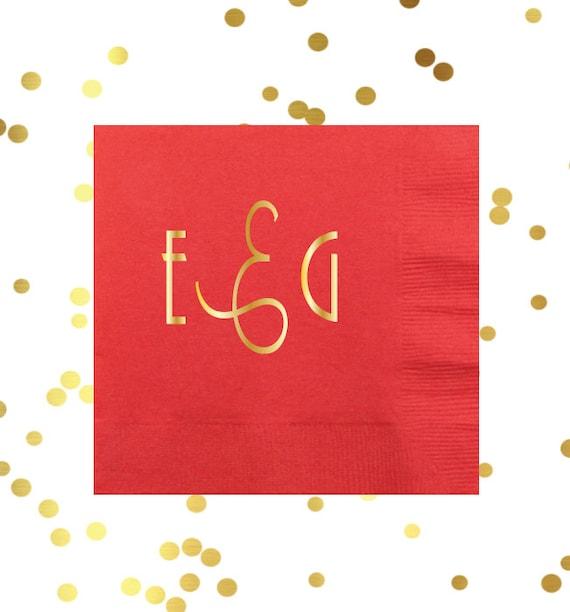 monogrammed cocktail napkin, monogrammed party supplies, personalized napkins, gold foil napkins, reception napkins, bar cart napkins