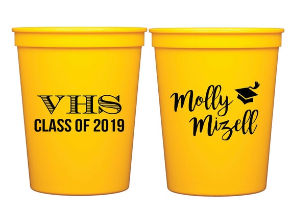Graduation cups, Class of 2019 cups, Graduation party cups, Personalized stadium cups, graduation party favors, grad party cups, c/o 2019