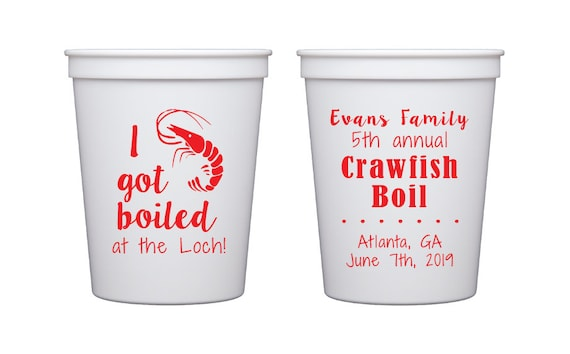 Crawfish boil cups, Family reunion cups, I got boiled. Low country boil cups, Shrimp boil cups, Low country boil theme, wedding shower cups