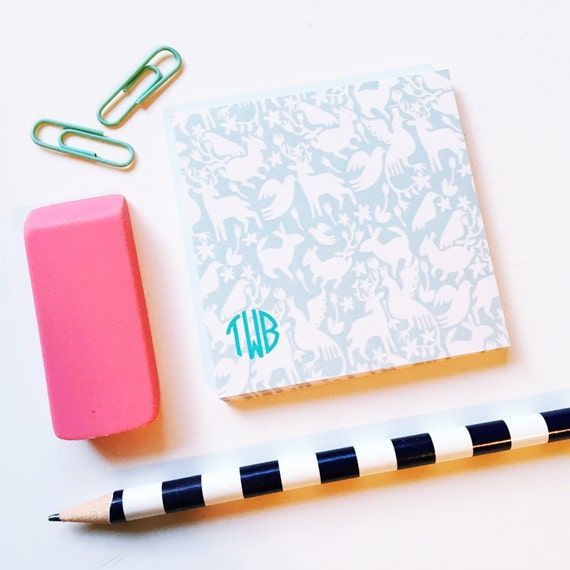 Otomi Sticky Notes, Personalized Post It Notes, patterend notes, Custom Notepad, Note Pad, Office Supplies, animal print