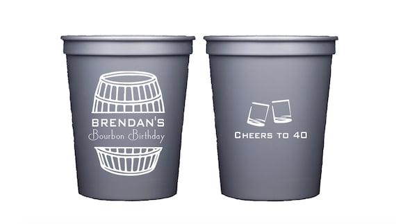 Bourbon birthday party, Bourbon cups, Whiskey birthday party, Bourbon theme party, Personalized party cups, Personalized birthday cups