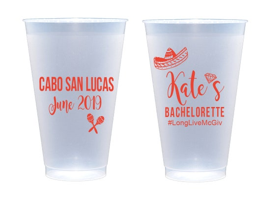 Bachelorette party cups, Personalized shatterproof cups, Fiesta bachelorette cups, final fling before the ring, bachelorette party favor