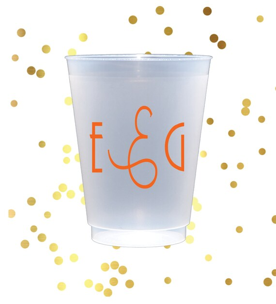 Personalized frosted cups, shatterproof cup, monogrammed plastic cup, party favor, wedding cup favors, reception cups, monogrammed plastic