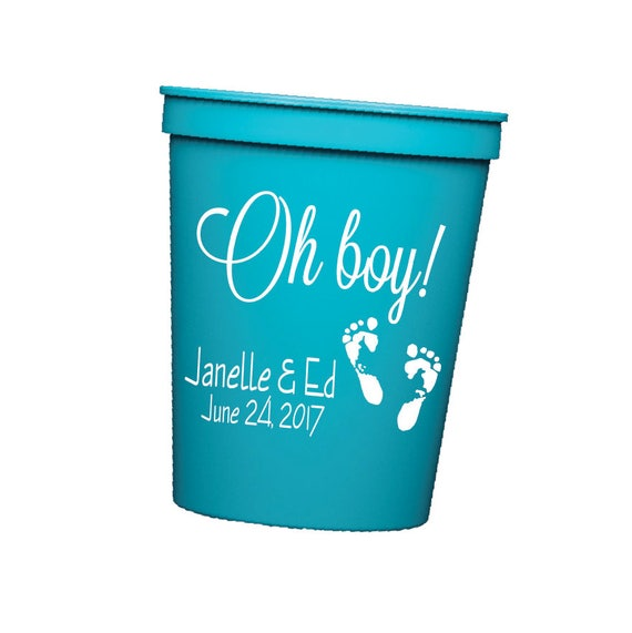 Oh baby plastic cups, Baby shower cups, gender reveal party favor, personalized plastic cups,  Personalized stadium cups