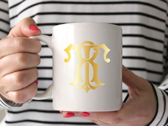 Monogram gold foil mug, Personalized Mug, Bridesmaid Gift, Personalized Gift, Monogram Mug, Gift for her, under 50, vintage monogram