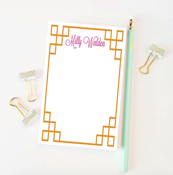 Personalized notepad, Greek key notepad, monogrammed notepad, custom notepad, colorful notepad, colorful notes, cute office supplies