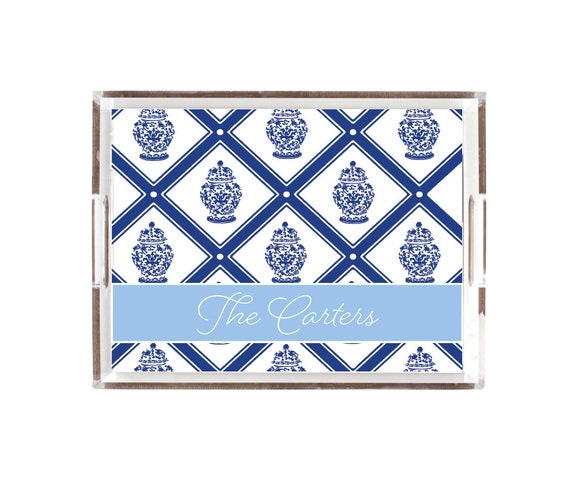 Ginger jar tray, Ginger jar decor, Blue and white ginger jars, Personalized tray, Acrylic tray with insert, Personalized gift idea, Lucite