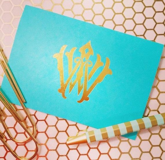 Personalized stationery, Foil stamped notecards, monogrammed stationery set, vintage monogram, monogrammed notecard set, gold foil cards