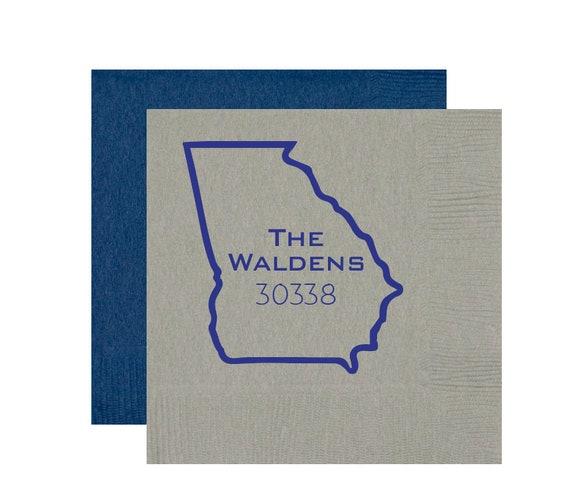 Housewarming napkins, Housewarming party favor, Zip code napkins, Relator gift idea, State outline napkins, New homeowner gift idea