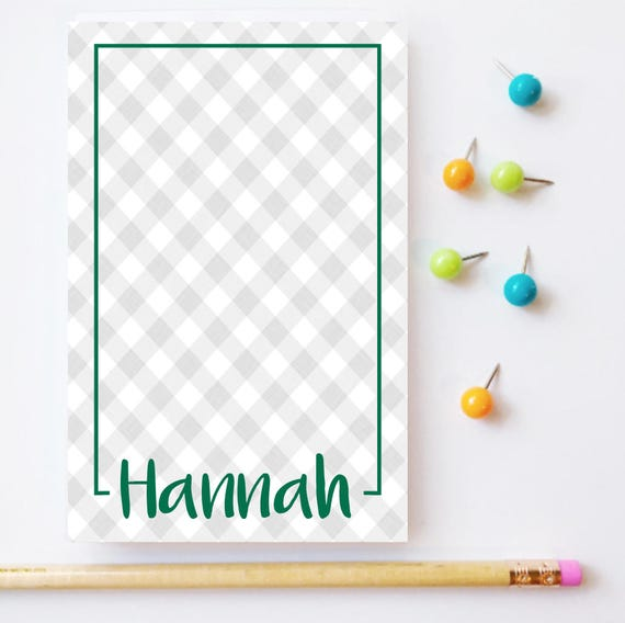 gingham notepad, personalized notepad, gingham check pattern, buffalo check notepads, plaid notepad,  graduation gift, teacher gift idea