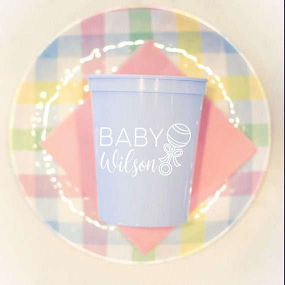 Baby shower cups, Personalized cups, Personalized baby shower favor, Baby sprinkle, Welcome baby gift, Plastic party cups, New baby