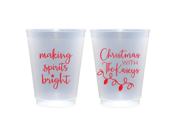 Christmas cups, Making spirits bright, Personalized shatterproof cups, Personalized Christmas cups, Christmas party cups, Holiday party cups