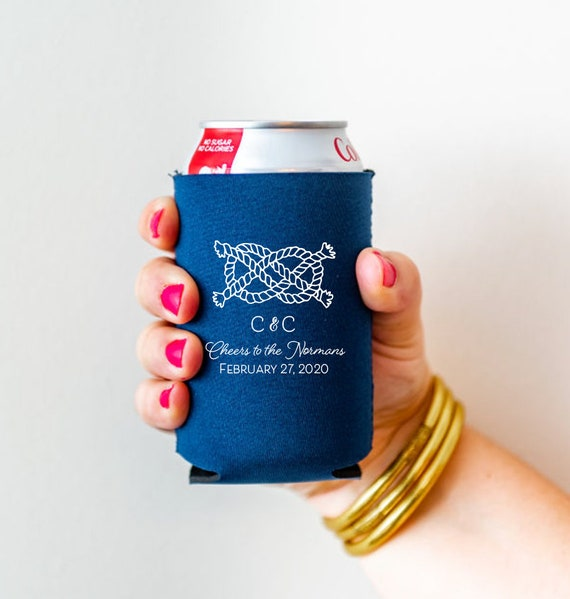 Nautical wedding favor, Personalized wedding favor, Nautical can cooler, Nautical drink sleeve, Sailors knot can cooler, Rope knot favor