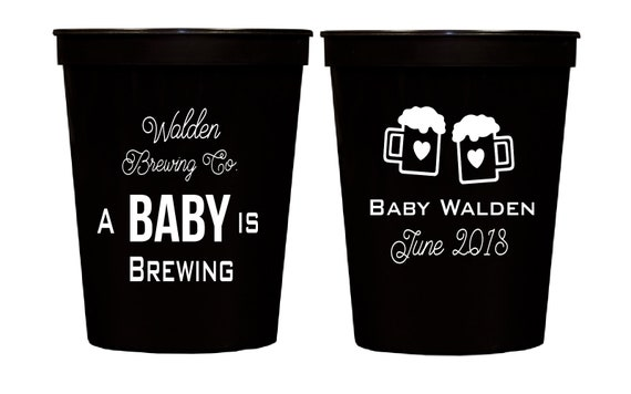 A baby is brewing cups, Baby shower cups, Gender reveal party cups, Couples shower party cups, Personalized plastic cups, Stadium cups