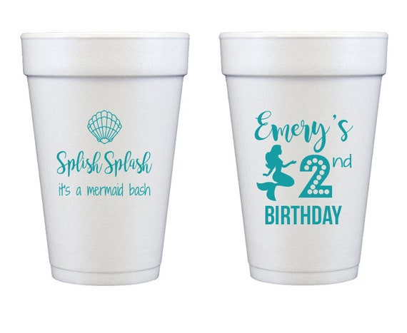 Mermaid birthday cups, Mermaid party cups, Mermaid kids party, Children birthday party cups, Mermaid bash, Personalized foam