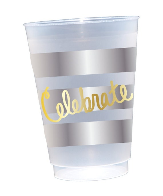 Celebrate cups, shatterproof cups, frosted cups, hostess gift idea, Party favor cups, reusable plastic cups, birthday party cups
