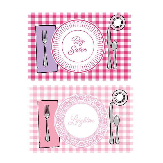 Big sister gift, Big sister placemat, Personalized placemat, Gingham placemat, Laminated placemat, Toddler gift idea, Customizable placemat