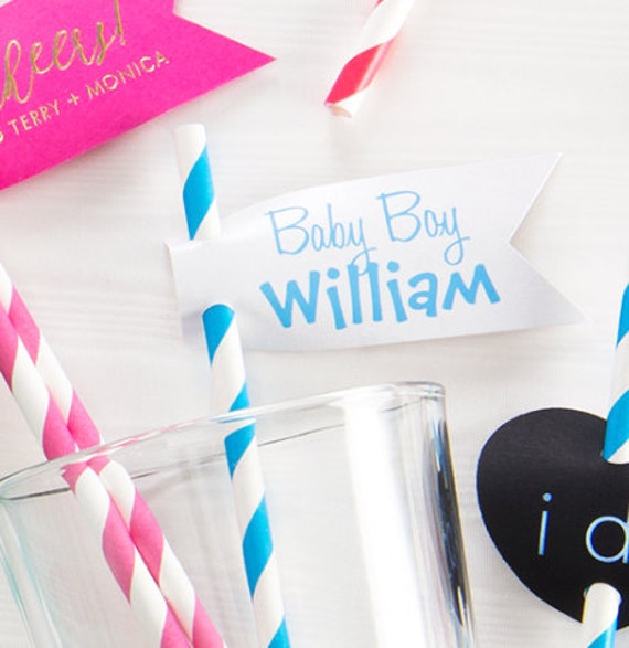 Baby shower straws, Baby shower straw flags, baby shower decor, party straws, striped straws, paper straw flags, signature drink