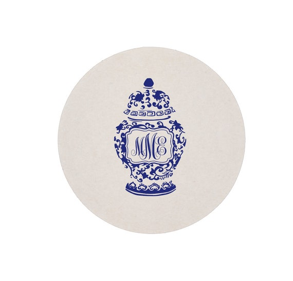 Ginger jar coaster, Ginger jar gift, Ginger jar decor, Personalized coasters, Monogram coaster, Blue and white decor, Housewarming gift idea