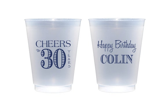 Cheers to 30 years, 30th birthday cups, Personalized birthday cups, Personalized shatterproof cups, Frosted birthday cups, birthday favor