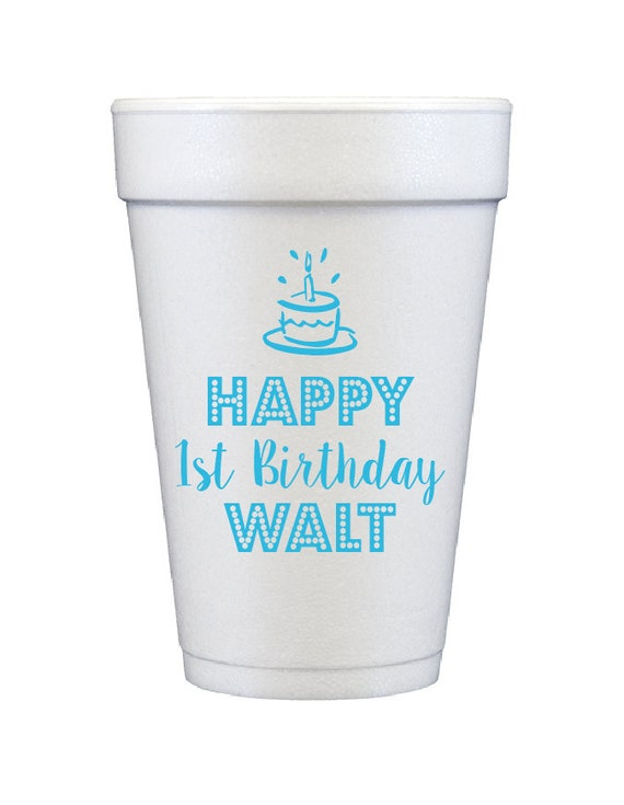 First birthday party cups, Personalized Birthday Party Cups, Custom Styrofoam Cups, Party Favors, Birthday Celebration, Monogrammed Favors