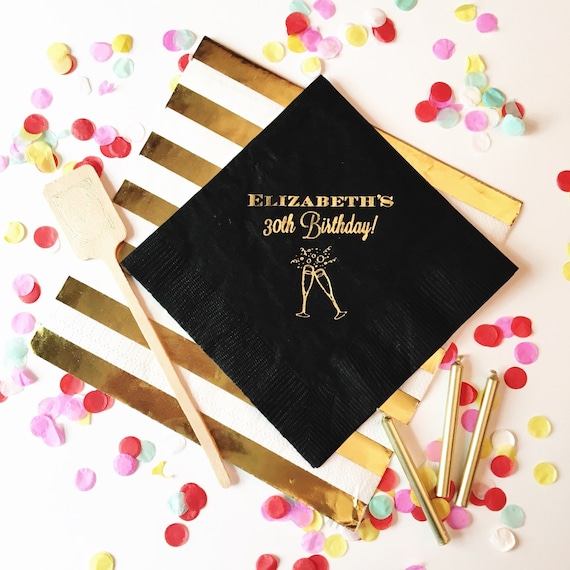 Birthday napkins, 30th birthday napkins, party napkins, gold foil napkins, birthday party decor, party supplies, cheers napkins