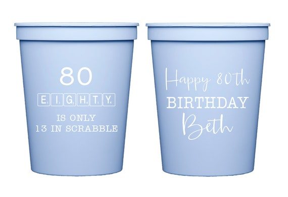 Scrabble birthday cups, Scrabble theme, Scrabble party, 80th birthday party, 80th birthday cups, Adult birthday party, Personalized cups
