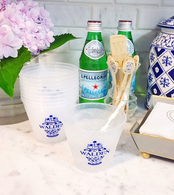 Ginger jar cups, personalized plastic cups, shatterproof cup, blue and white ginger jars, frosted cups, blue and white cups