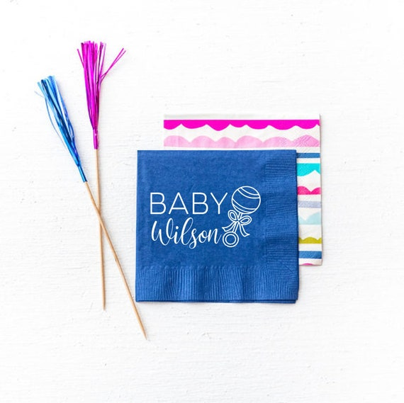 Baby shower napkins, Baby shower decor, Baby shower favor, Personalized napkins, Personalized baby shower napkins, welcome home baby gift