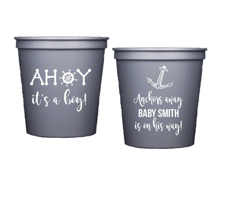 2e612707d21 Nautical Baby Shower Cups, Baby Shower Stadium Cup, Ahoy it's a ...