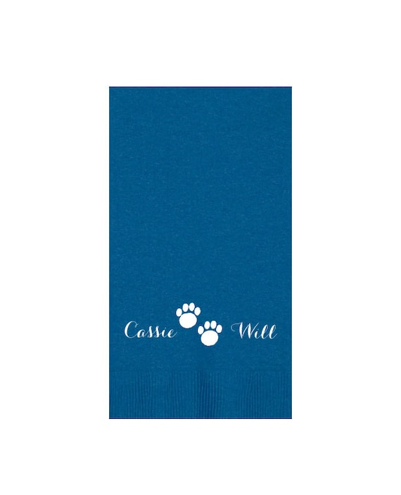 Paw print napkins, personalized bathroom guest towels, personalized paper napkins, paper guest towels, dog lover guft, new pet gift idea