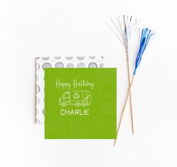 Garbage birthday party, Trash truck birthday napkins, Garbage truck birthday, Trash birthday, Personalized birthday napkins, Recycling